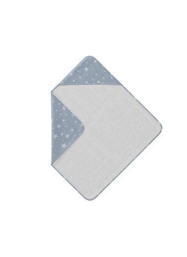 Hibboux Star Kafalı Bebek Havlusu - Blue (75x75) Mavi